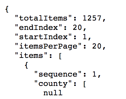 A screenshot of the JSON indicating there are 1257 results and 20 shown.