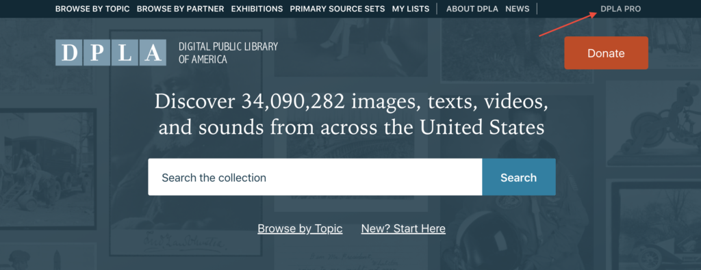 "A screenshot pointing to the ""Pro"" link on the DPLA website."