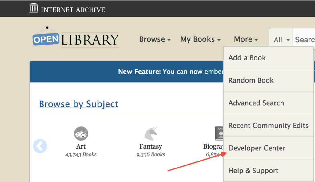 "A screenshot pointing to the ""Developer Center"" link on the OpenLibrary website."