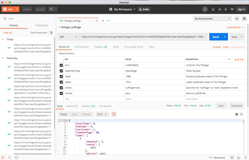 A screenshot of the Postman workspace.