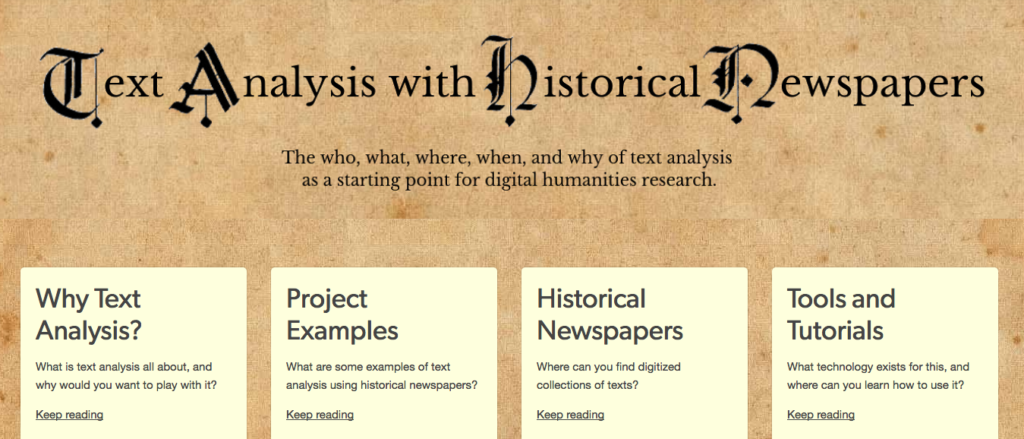 Screenshot of the homepage of the website Text Analysis with Historical Newspapers