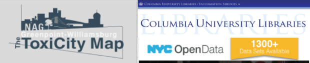 image of logos for three clients- columbia University libraries, ToxiCity Map and NYC Open data