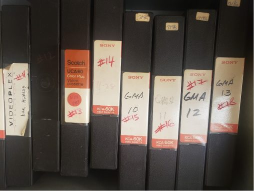 Spines of archival tapes on a shelf