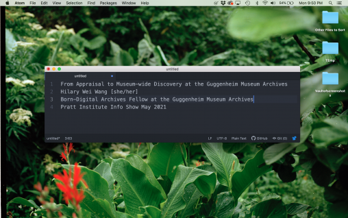 an image of a desktop background depicting leafy green foliage and a black window with the title words.