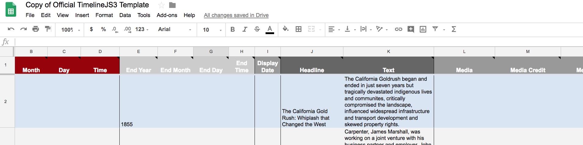 TimelineJS Spreadsheet